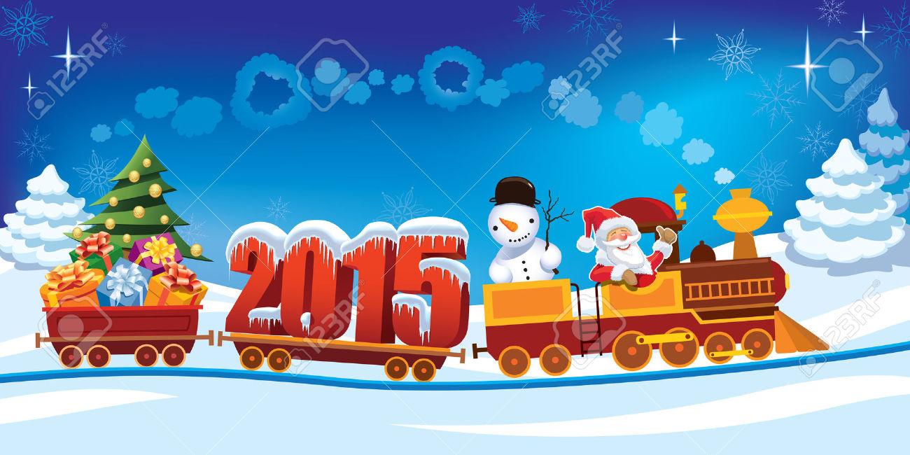 32570596-A-o-Nuevo-2015-y-Santa-Claus-en-un-tren-de-juguete-con-regalos-mu-eco-de-nieve-y-rboles-de-Navidad--Foto-de-archivo